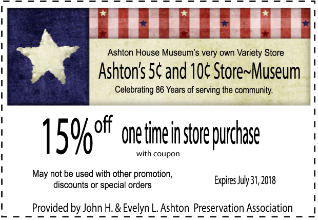 Ashton 5 and 10 Store Internet Coupon